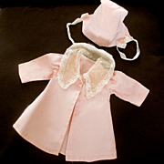 Vintage Factory Pink Coat Bonnet Smaller Doll