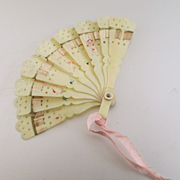 Celluloid Miniature Fan Ribbons For Fashion Doll