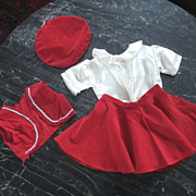 50's 4 Piece Velvet Outfit For Large Doll Bolero Beret