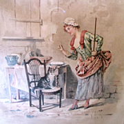 Original French Print Maid With Cat E. Grivaz With Label Arcade Mall Phila. Pa