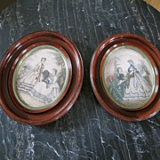 Set Victorian Walnut Frames French Prints
