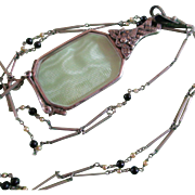 Victorian Sterling Folding Lorgnette Long Beaded Chain - Red Tag Sale Item