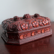 Extraordinary Black Forest Carved Document Or Valuables Box Cabbage Roses