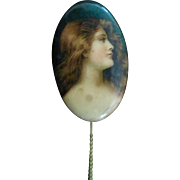 Antique Victorian Celluloid Portrait Stick Pin C.D. Kenny Coffee and Tea Co.  Lithograph On Tin
