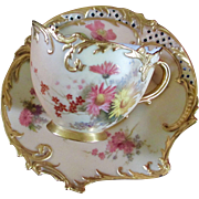1891 Royal Worcester Blush Ivory Meadow Flowers Cabinet Empress Cup & Saucer RARE