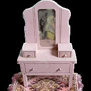 Strombecker 1930's Deco Pink Dollhouse Vanity