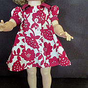 1930's Adorable Factory Red and White Swing Dress