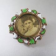 Victorian/ Edwardian Enameled Portrait Brooch
