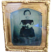 Civil War Era Framed Mourning Tin Type Beautiful Little Girl Holding Flowers - Red Tag Sale Item
