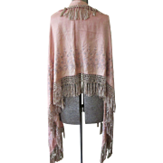 Victorian Silk Crepe Embroidered Long Shawl