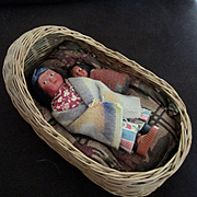 Antique Native American Doll Cradle Basket With Skookum Mother Baby