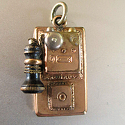 RARE Gold Plated Victorian Miniature Wall Phone Charm With Onyx Also Dollhouse