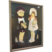 1920's Paper Dolls in Frame With Ribbon Art Mohair Wigs