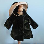 Darling Brown Velvet Swing Coat and Rain Hat