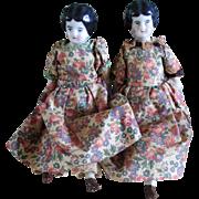 Twin German Low Brow Dollhouse China Dolls Original Clothes