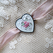 Sterling Guilloche Rose Heart Sash Charm Ribbon