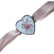 Sterling Guilloche Rose Heart Sash Charm Ribbon