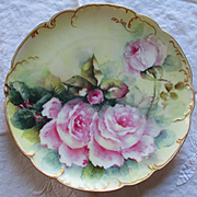 Haviland Limoges Gilt Plate Roses Signed