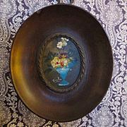 Walnut Frame Hand Painted Oil Floral Still Life Dollhouse Miniature
