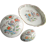 Wedgwood Dresser Set 3 Pieces Kutani Crane