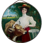 Milk Maid Cow 1800's German Chromolithograph Flue Cover