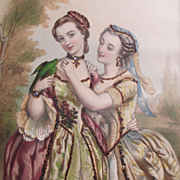 1800's French Chromolithograph 2 Women Embellished