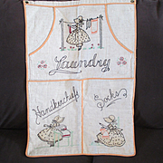 Vintage 1930's Embroidered Sunbonnet Sue Linen Laundry Bag