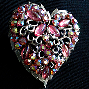 50's Coro Large Lava Rock Heart Brooch Pegasus Mark