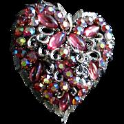 50's Coro Large Lava Rock Heart Brooch Pegasus Mark