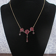 Antique Bohemian Czech Garnet Necklace Drop