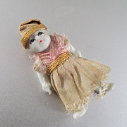 """Tiniest Asian Bisque Jointed Dollhouse Doll Original Dress 1 and 3/8"""""""