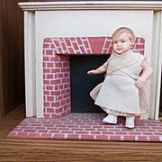 """Celluloid Warenfabrik or Schoberl & Becker 2.75"""" Dollhouse Doll German"""