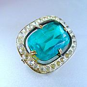 Victorian/Edwardian Teal Glass Rhinestone Brooch