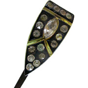 Art Deco 1920's Celluloid Hair Pin Barrette with Clear Stones For Doll