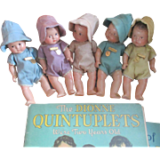 "Madame Alexander 7"" Quintuplets Original Rompers, Bonnetts, Tags"