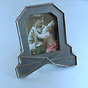 Miniature Art Deco Frame Boy and Girl Hand Colored Photograph