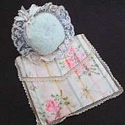 Sweet Silk Roses and Lace Pillow For Doll