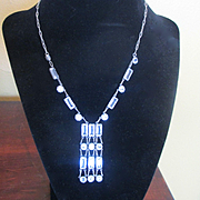 Fabulous Deco Crystal Sterling Sautoire Necklace Bezeled Stones