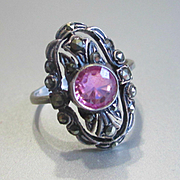 Delicate Deco Pink Tourmaline Marcasite Ring