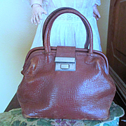 Old Cowhide Small Valise Or Doctor's Bag for Doll