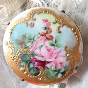 Exquisite Early 1900's Victorian Hand Painted Large Roses Brooch