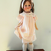 Deco 1930's Pink Dress Matching Slip Lace Ribbons For Large Doll
