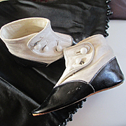 Edwardian High Top White Kid Black Patent Boots For Larger Doll