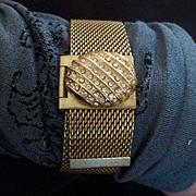 Mid Century Gold Tone Mesh Buckle Bracelet