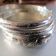 3 Graduated Mid Century Sterling Hinged Bangles Set