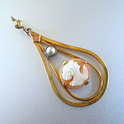 Deco Cameo Pendant with Pearl