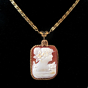 Early 1900's Rectangular Cameo Beautiful Woman Etruscan Revival Chain Filigree