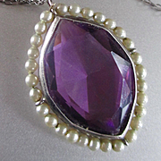 Large Amethyst Pendant Glass Pearls