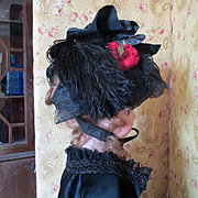 Civil War Era Black Feathered Bonnet For Doll