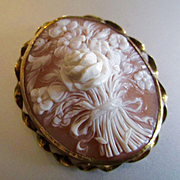Victorian High Relief Large 12K Gold Floral Bouquet Cameo Rose